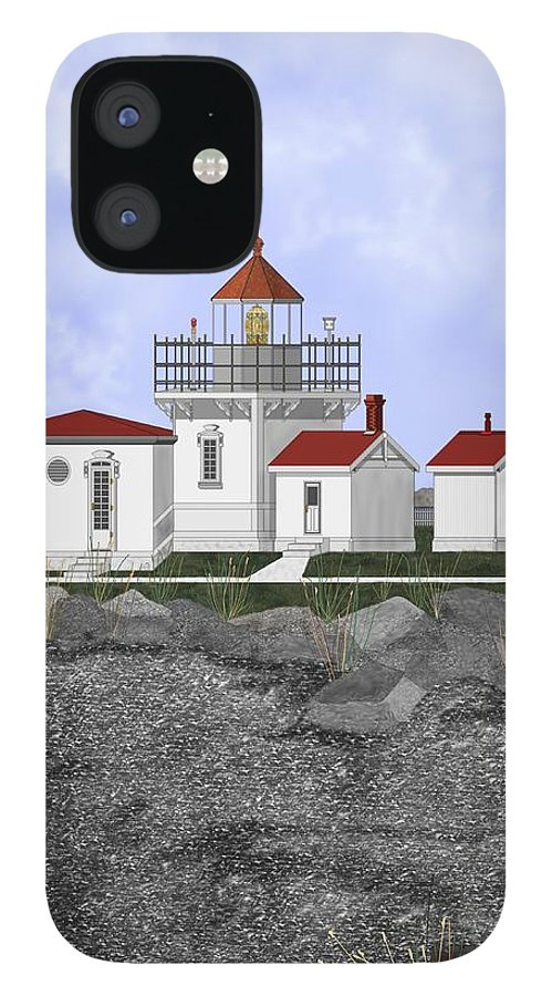 Lighthouse IPhone 12 Case featuring the painting Point No Point Lighthouse by Anne Norskog