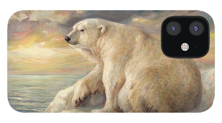 Polar Bear IPhone 12 Case featuring the painting Polar Bear Rests On The Ice - Arctic Alaska by Svitozar Nenyuk