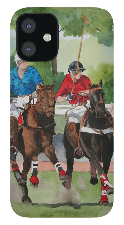 Polo IPhone 12 Case featuring the painting Polo In The Afternoon 2 by Jean Blackmer