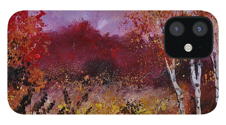 Landscape IPhone 12 Case featuring the painting Poplars in autumn by Pol Ledent