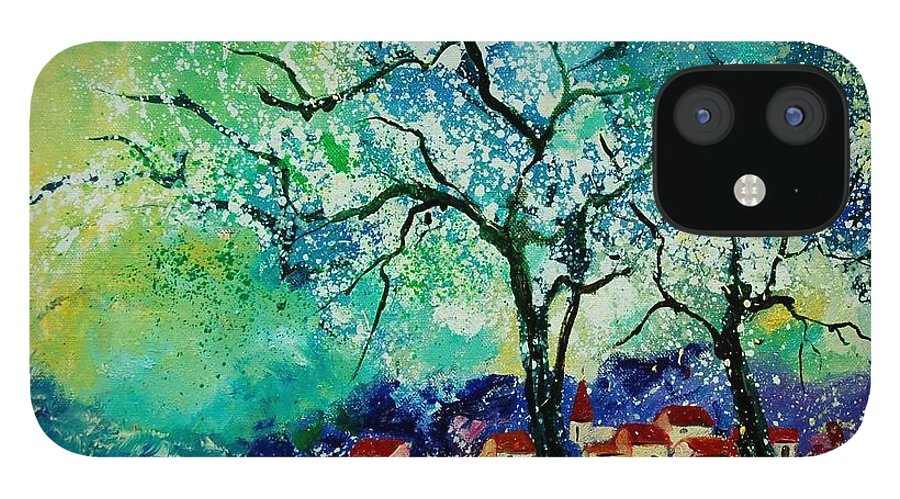Landscape IPhone 12 Case featuring the painting Poppies and appletrees in blossom by Pol Ledent