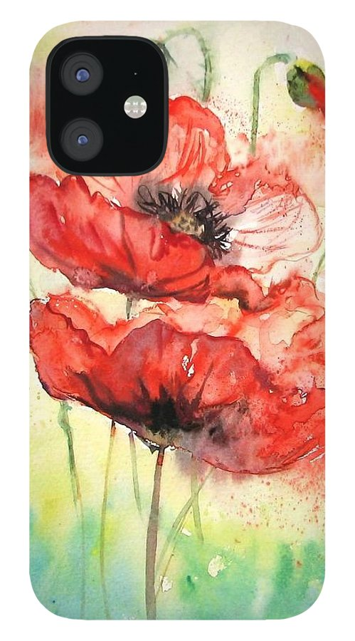 Red Poppy iPhone 12 Case featuring the painting Poppies by Natalja Picugina