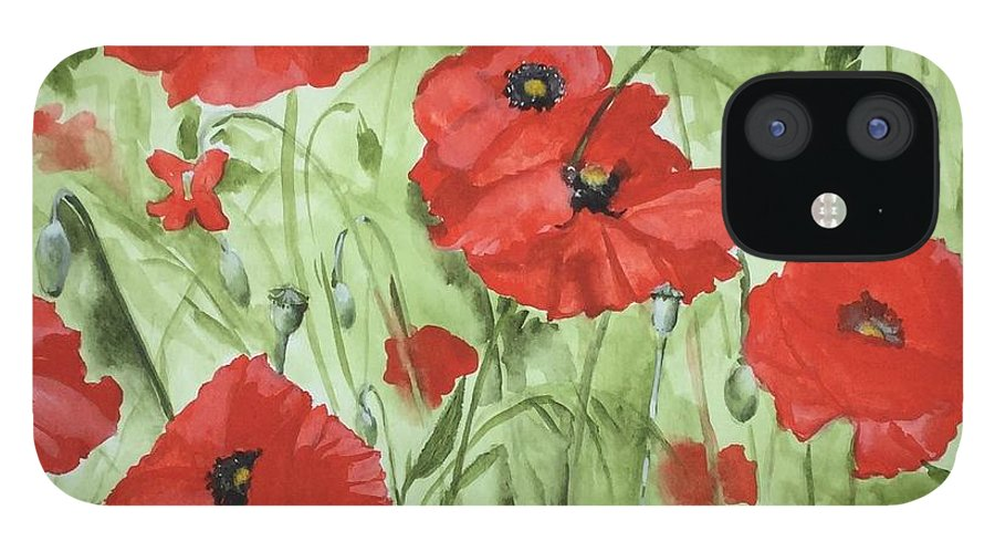 Red IPhone 12 Case featuring the painting Poppy Field 1 by Jean Blackmer