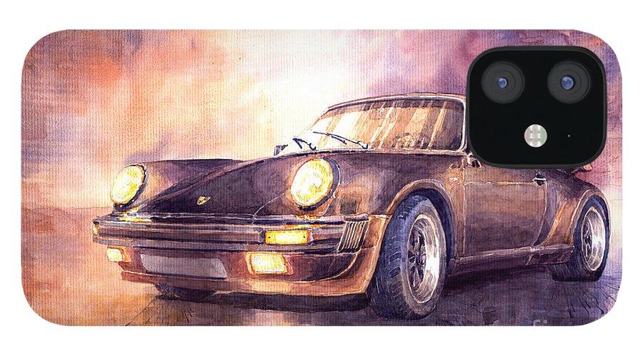 Shevchukart IPhone 12 Case featuring the painting Porsche 911 Turbo 1979 by Yuriy Shevchuk