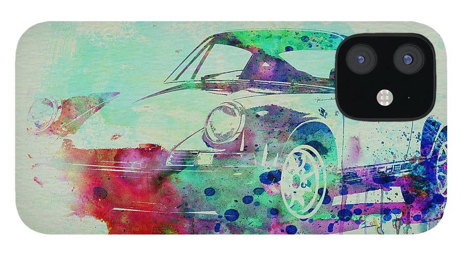 Porsche 911 IPhone 12 Case featuring the painting Porsche 911 Watercolor 2 by Naxart Studio