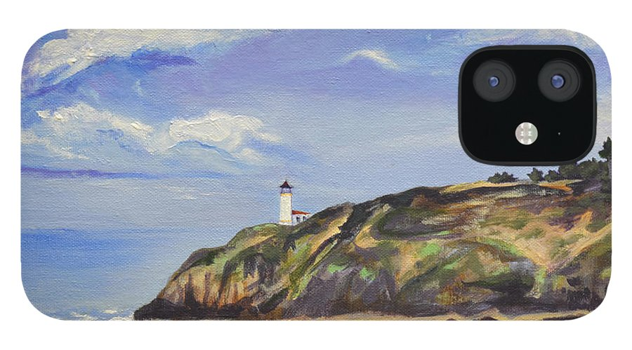 Painting IPhone 12 Case featuring the painting Port in a Storm by Mary Chant