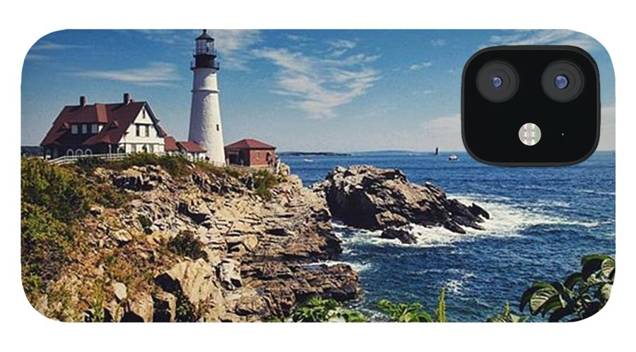 Mymaine IPhone 12 Case featuring the photograph #portland #lighthouse #maine by Luisa Azzolini