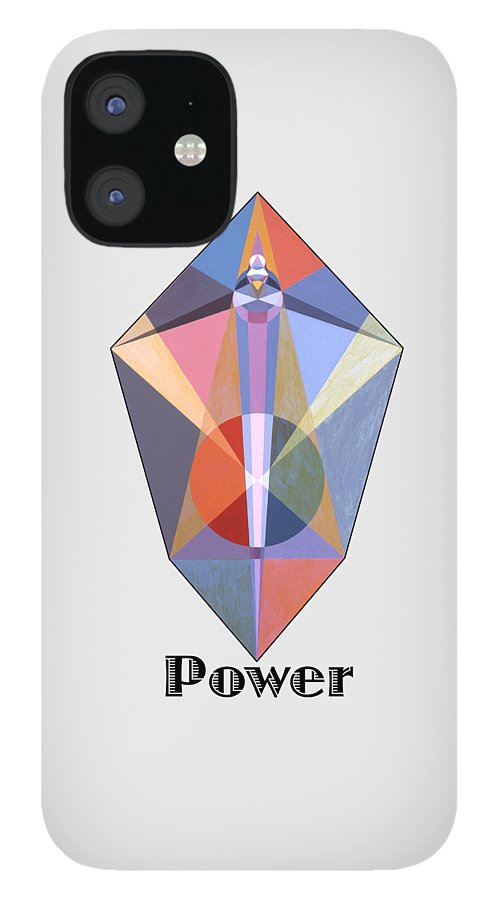 Painting IPhone 12 Case featuring the painting Power text by Michael Bellon