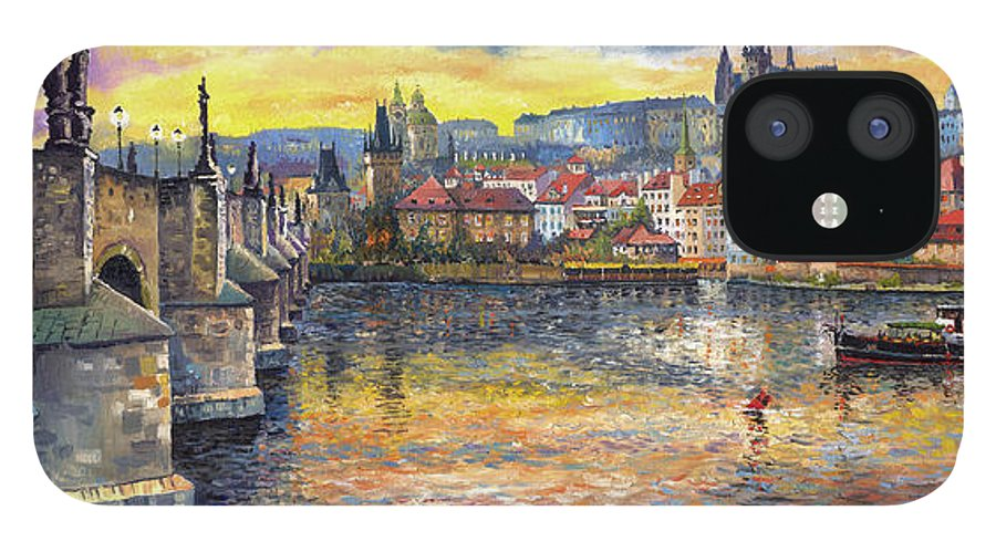 Oil On Canvas IPhone 12 Case featuring the painting Prague Charles Bridge and Prague Castle with the Vltava River 1 by Yuriy Shevchuk