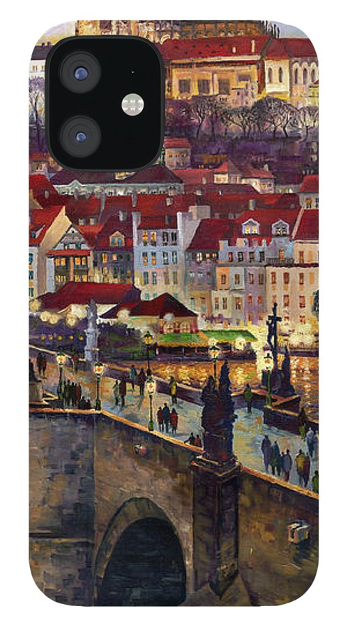 Prague IPhone 12 Case featuring the painting Prague Charles Bridge with the Prague Castle by Yuriy Shevchuk