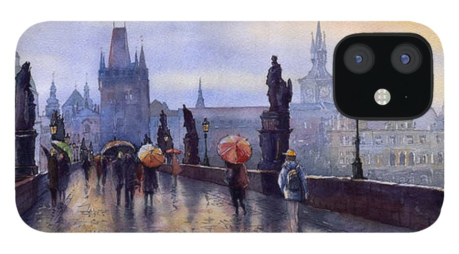 Cityscape IPhone 12 Case featuring the painting Prague Charles Bridge by Yuriy Shevchuk