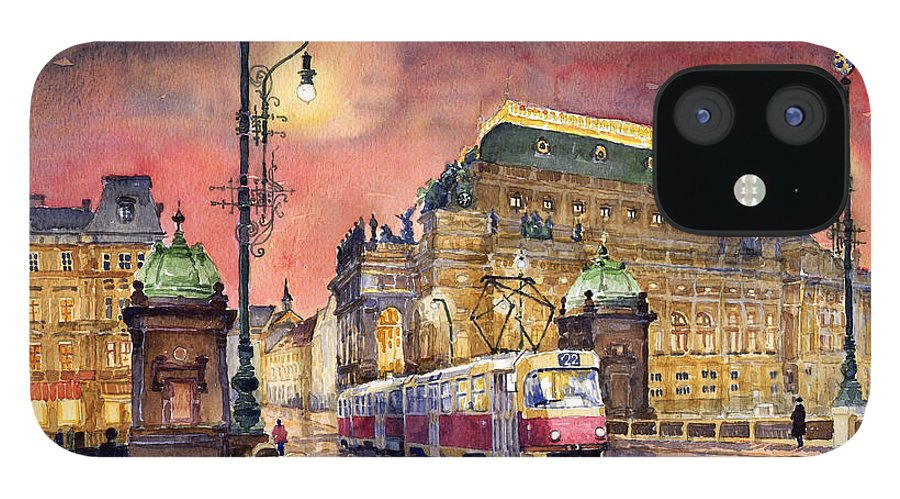 Bridge IPhone 12 Case featuring the painting Prague Night Tram National Theatre by Yuriy Shevchuk