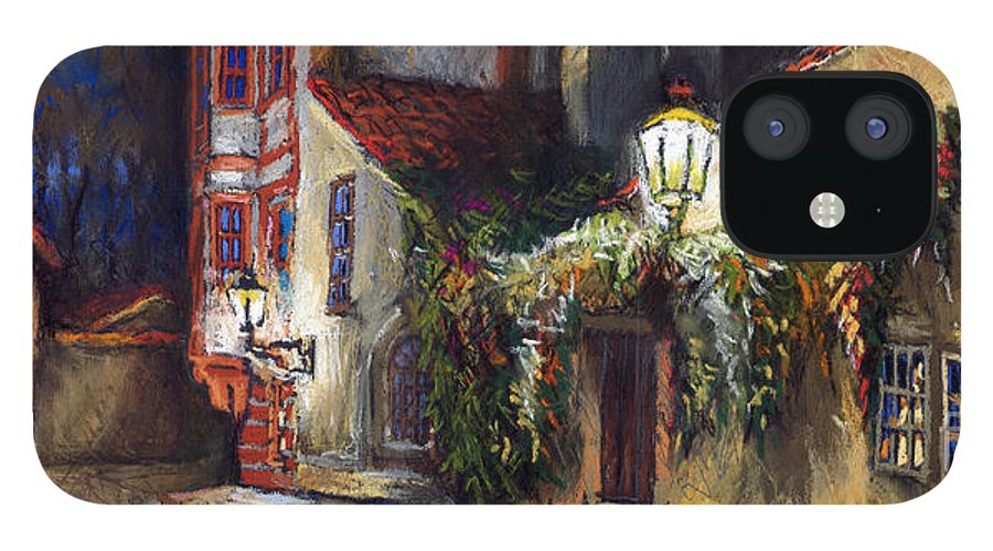 Prague IPhone 12 Case featuring the painting Prague Novy Svet Kapucinska str by Yuriy Shevchuk