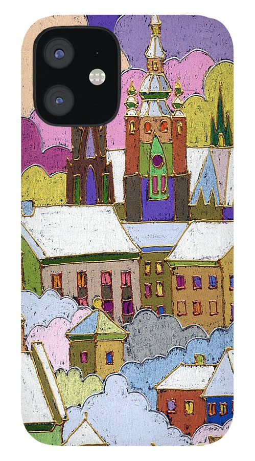 Pastel IPhone 12 Case featuring the painting Prague Old Roofs Prague Castle Winter by Yuriy Shevchuk