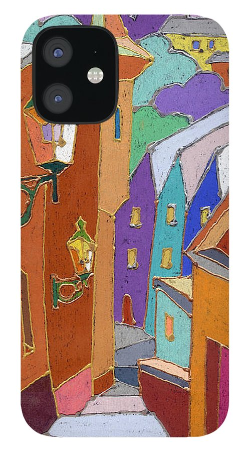 Pastel IPhone 12 Case featuring the painting Prague Old Steps Winter by Yuriy Shevchuk