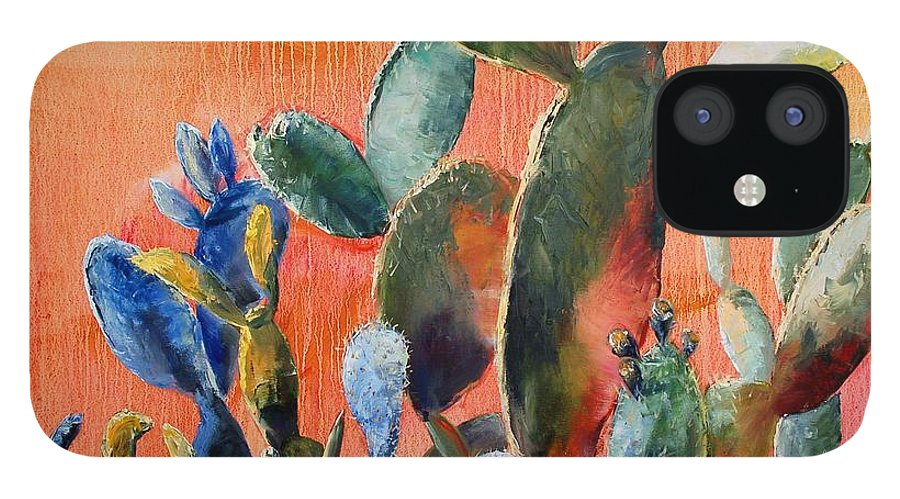 Cactus IPhone 12 Case featuring the painting Prickly Pear by Lynee Sapere