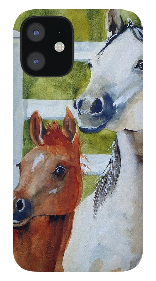 Equine IPhone 12 Case featuring the painting Proud Mama by Jean Blackmer