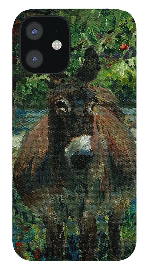 Donkey IPhone 12 Case featuring the painting Provence Donkey by Nadine Rippelmeyer