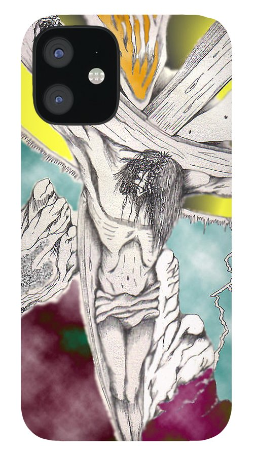 Spiritual IPhone 12 Case featuring the digital art Psalm 22 Ch 13-15... by Marco Morales