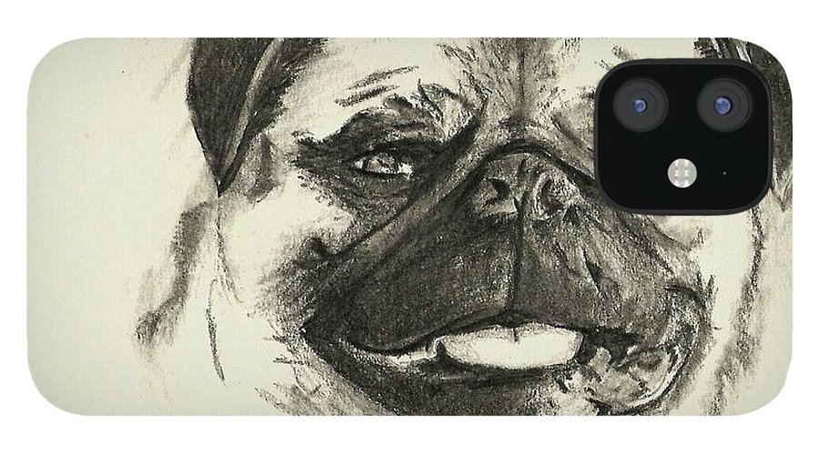 Pug IPhone 12 Case featuring the drawing Pug1 by Crystal Webb
