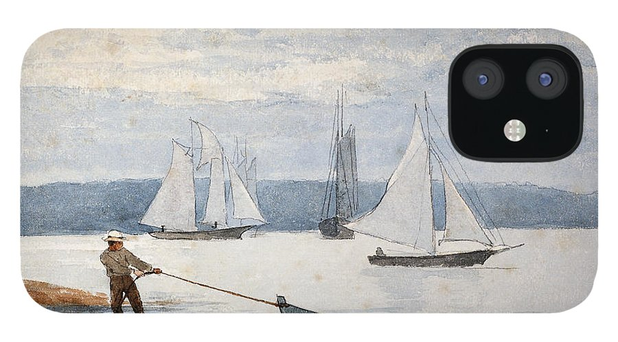 Man IPhone 12 Case featuring the painting Pulling the Dory by Winslow Homer