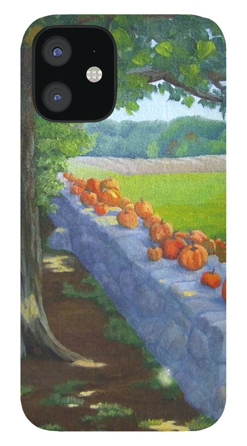 Pumpkins IPhone 12 Case featuring the painting Pumpkin Muster by Sharon E Allen