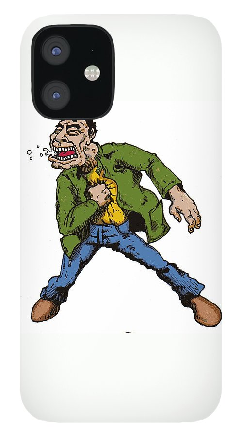 Illustration iPhone 12 Case featuring the drawing Punch by Tobey Anderson