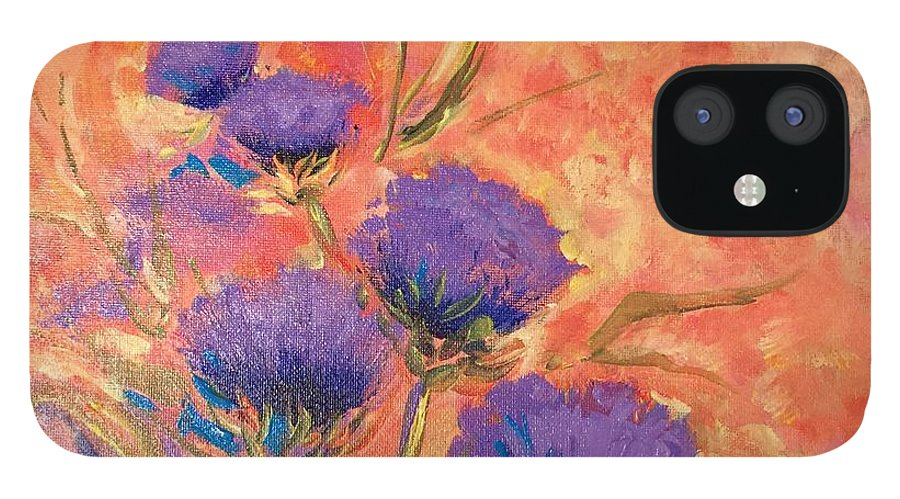 Thistles IPhone 12 Case featuring the painting Purple Thistles by Caroline Patrick