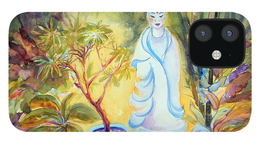 Gardens IPhone 12 Case featuring the painting Quan Yin Garden by Caroline Patrick