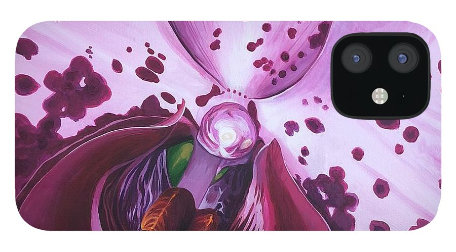 Phaleonopsis iPhone 12 Case featuring the painting Quiet World by Hunter Jay