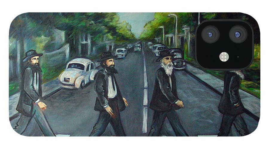 Surreal IPhone 12 Case featuring the painting Rabbi Road by Valerie Vescovi