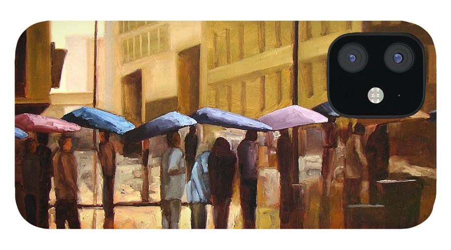 Cityscape IPhone 12 Case featuring the painting Rain in Manhattan number seventeen by Tate Hamilton