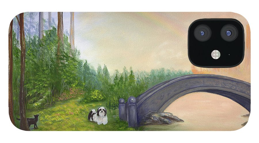 Pet Remembrance IPhone 12 Case featuring the painting Rainbow Bridge by Anne Kushnick