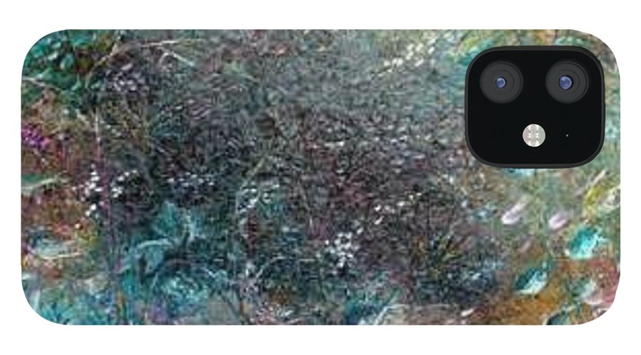 Original Abstract Painting Of Under The Sea IPhone 12 Case featuring the painting Rainbow Reef by Karin Dawn Kelshall- Best