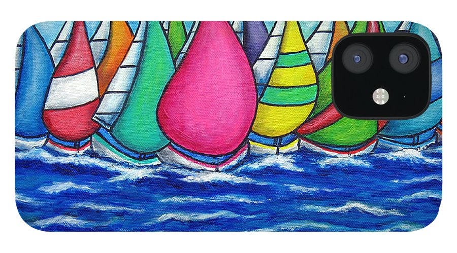 Boats IPhone 12 Case featuring the painting Rainbow Regatta by Lisa Lorenz