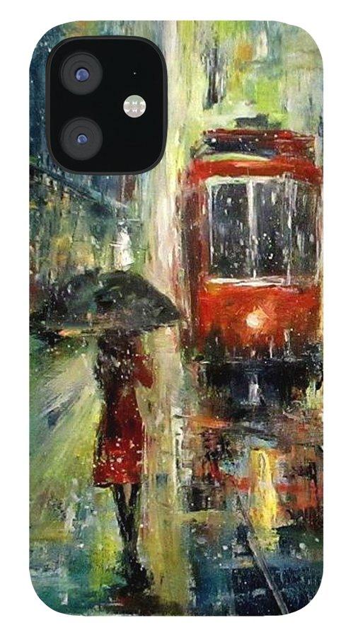 Landscape iPhone 12 Case featuring the painting Rainy Fantasy by Natalja Picugina