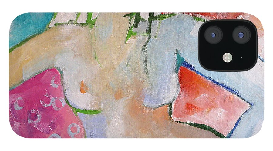 Nude IPhone 12 Case featuring the painting Reclining Nude by Linda Monfort