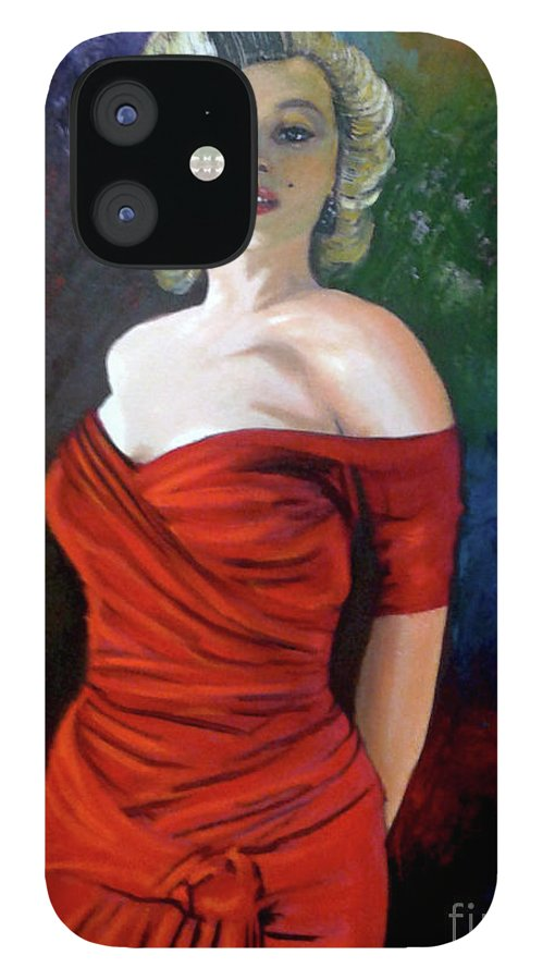 M.monroe IPhone 12 Case featuring the painting Red Dress by Jose Manuel Abraham