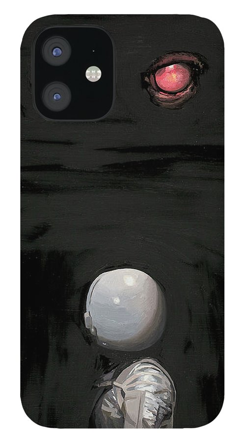 Astronaut IPhone 12 Case featuring the painting Red Eyes by Scott Listfield