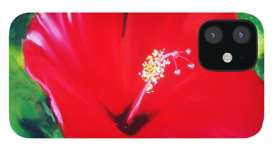 Bright Flower IPhone 12 Case featuring the painting Red Hibiscus by Melinda Etzold