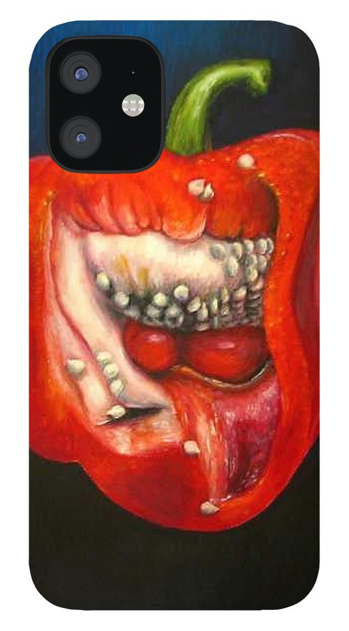 Pepper IPhone 12 Case featuring the painting Red Pepper oil painting by Natalja Picugina