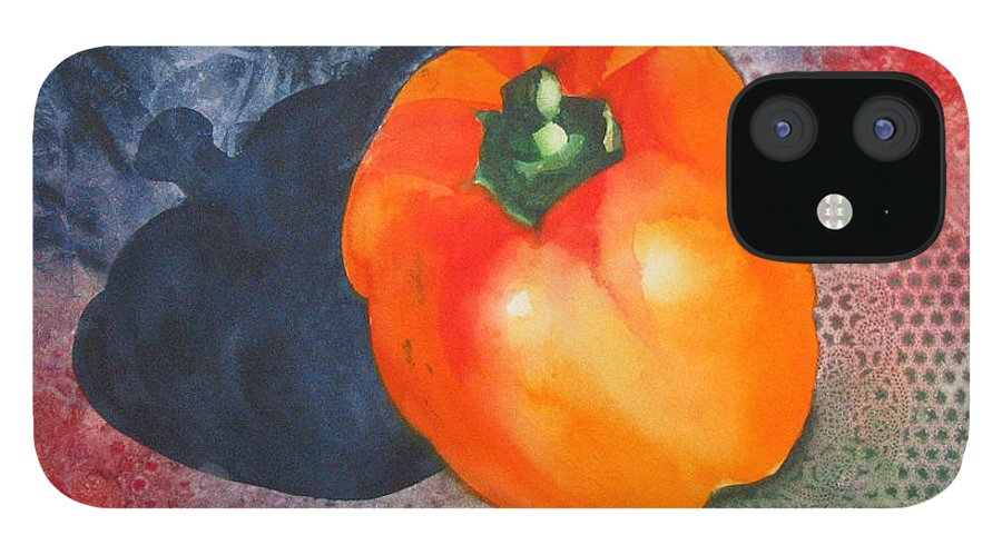Pepper IPhone 12 Case featuring the painting Red Pepper Solo by Jean Blackmer