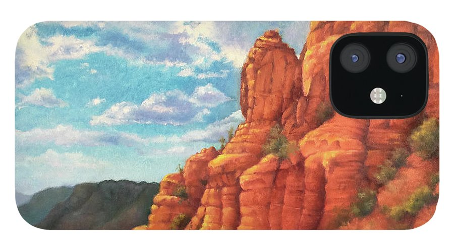 Sedona IPhone 12 Case featuring the painting Red Rocks by Teri Rosario