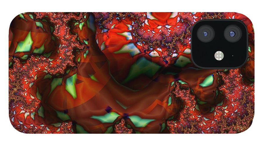 Berry IPhone 12 Case featuring the digital art Red Thread by Ron Bissett