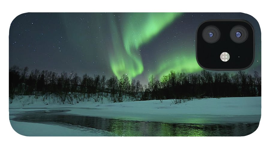 Green IPhone 12 Case featuring the photograph Reflected Aurora Over A Frozen Laksa by Arild Heitmann
