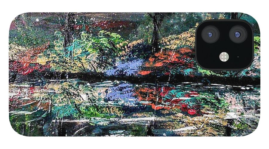 Woods IPhone 12 Case featuring the painting Reflections by Valerie Josi