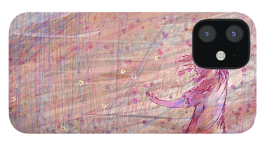 Abstract IPhone 12 Case featuring the digital art Releasing The Daisies by William Russell Nowicki