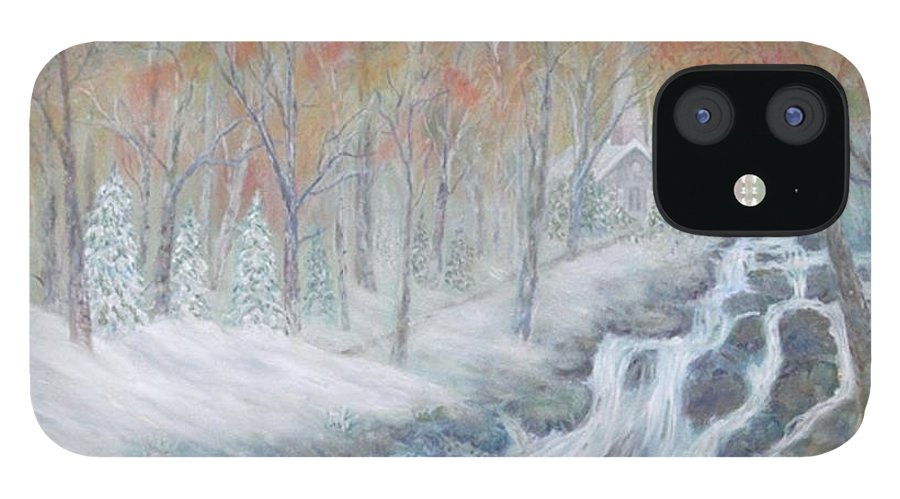 Snow; Landscape; Church IPhone 12 Case featuring the painting Reverence by Ben Kiger