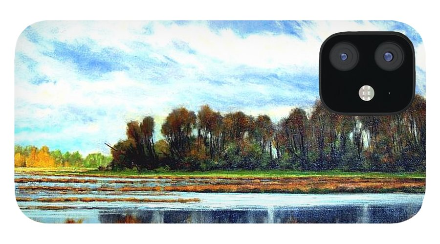 Landscapes IPhone 12 Case featuring the painting Ridgefield Refuge Early Fall by Jim Gola