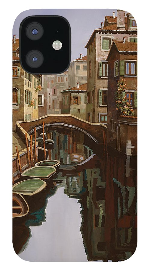 Venice IPhone 12 Case featuring the painting Riflesso Scuro by Guido Borelli